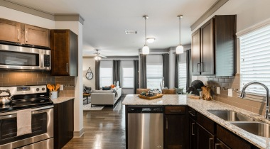 Luxury Apartment Kitchen with Stainless Steel Appliances