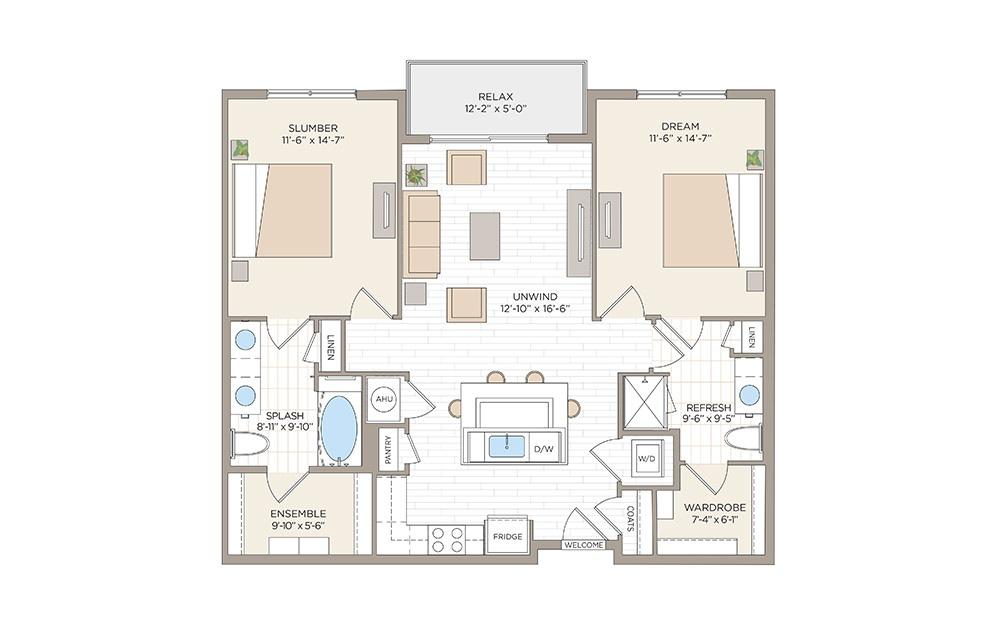Miller 2 bedroom 2 bath 1140 square feet