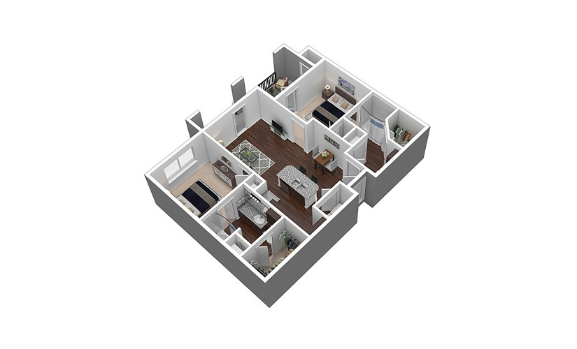 B1 2 bed 2 bath 966 sq. ft.