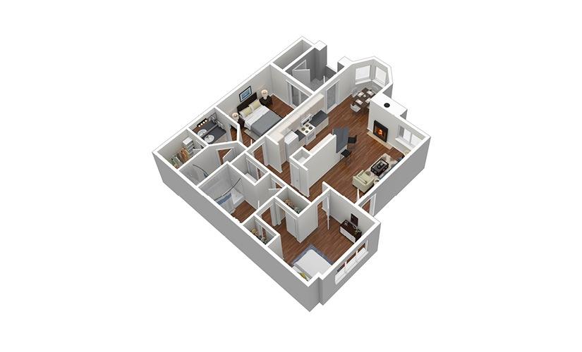 B1 2 Bed 2 Bath Furnished Floorplan
