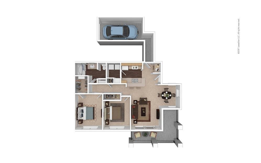 B1 2 Bed 1 Bath Furnished Floorplan