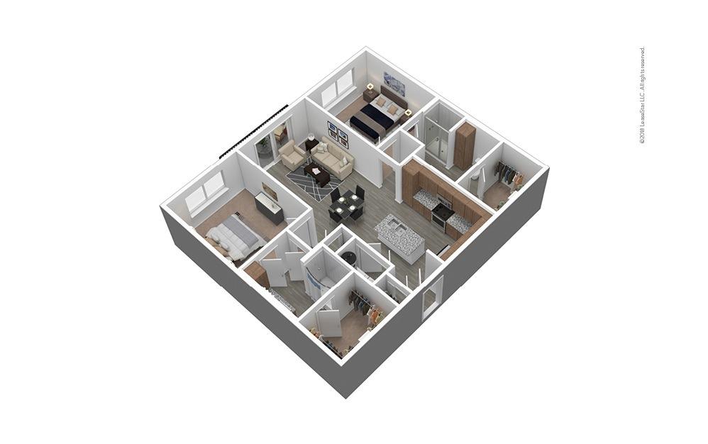 B1 Furnished 3D Floor Plan