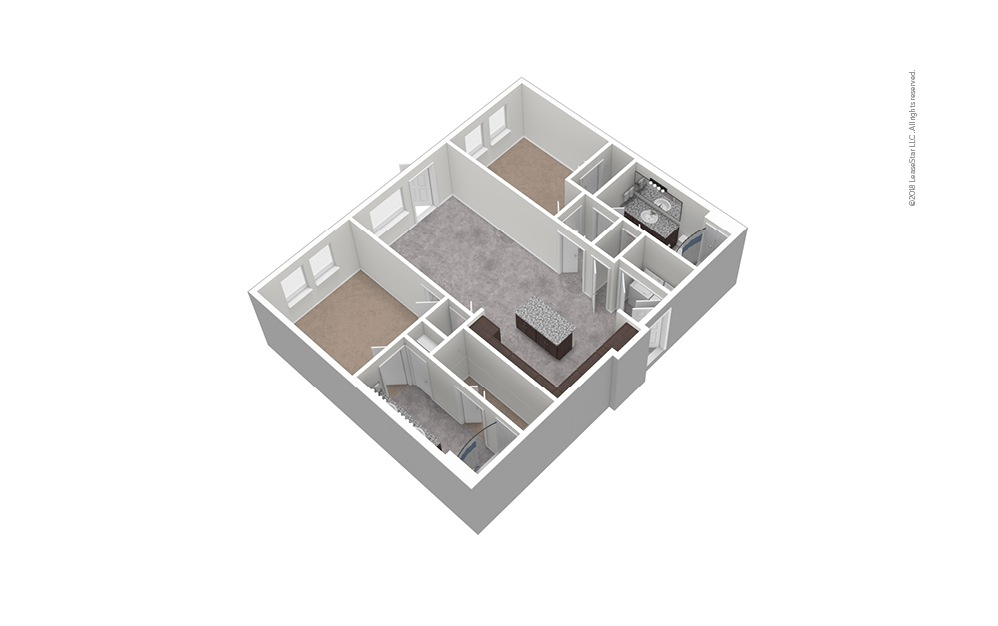 B1 2 Bed 2 Bath Unfurnished Floorplan