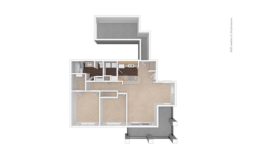 B1 2 Bed 1 Bath Unfurnished Floorplan
