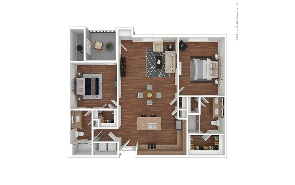 B2 Floor Plan with Furniture