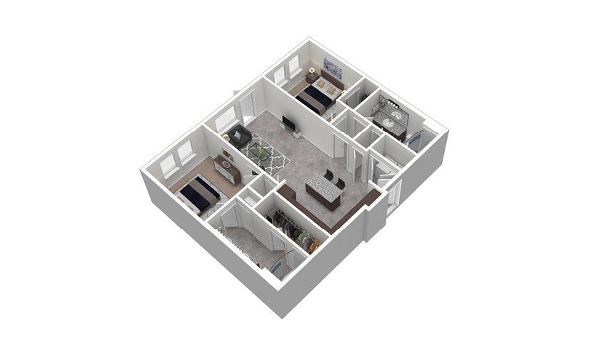 B2 2 Bed 2 Bath Furnished Floorplan