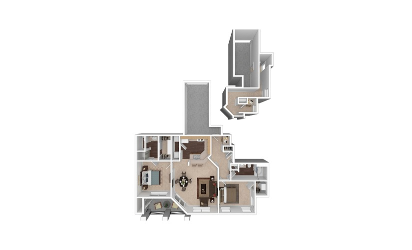 B2 2 Bed 1 Bath Floorplan