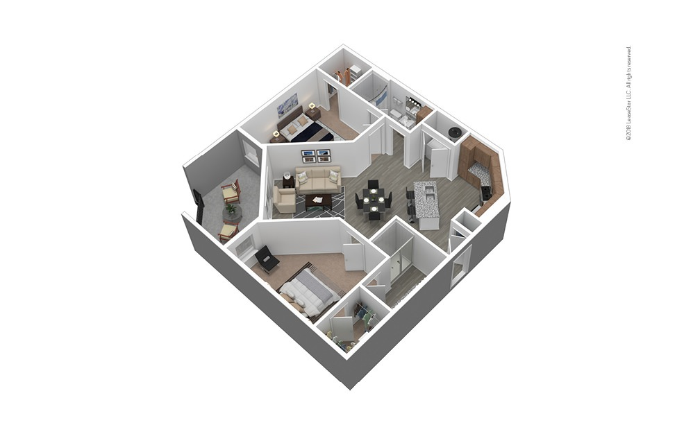 B2 Furnished 3D Floor Plan