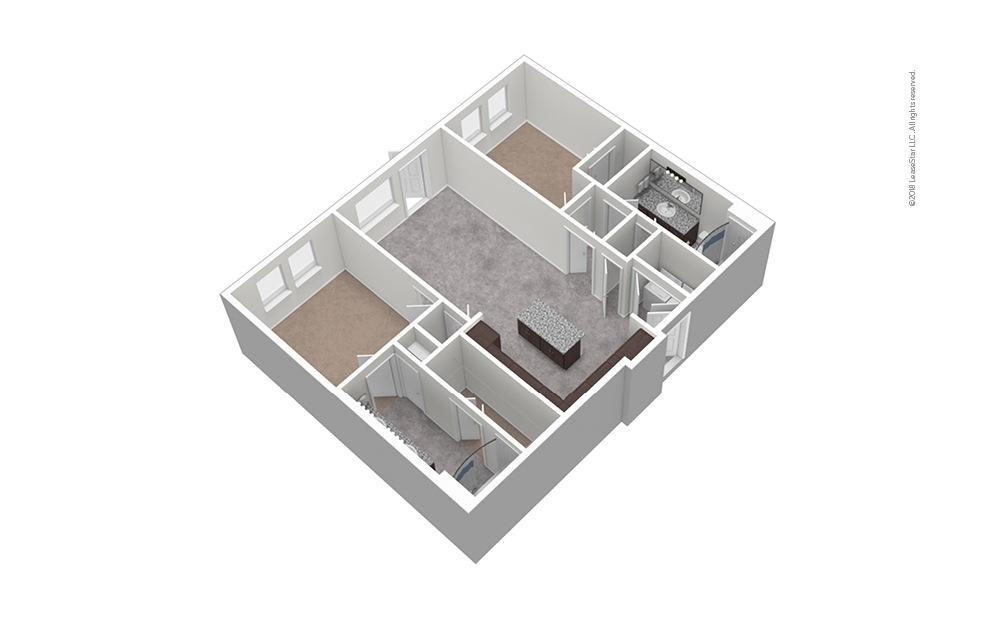 B2 2 Bed 2 Bath Unfurnished Floorplan