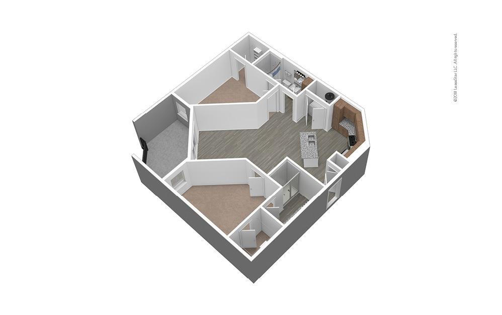 B2 Unfurnished 3D Floor Plan