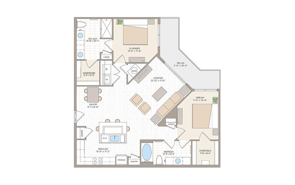 Rosalind 2 bedroom 2 bath 1240 square feet