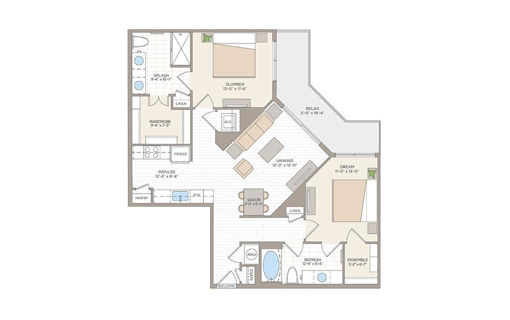 Magnolia 2 bedroom 2 bath 1084 square feet