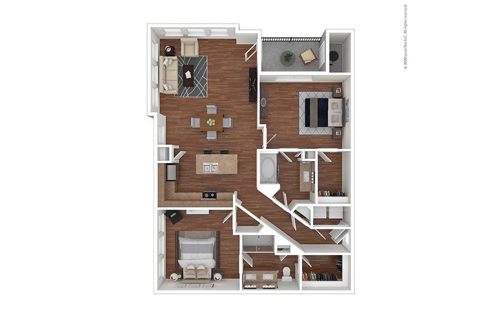 B3 Floor Plan Furnished