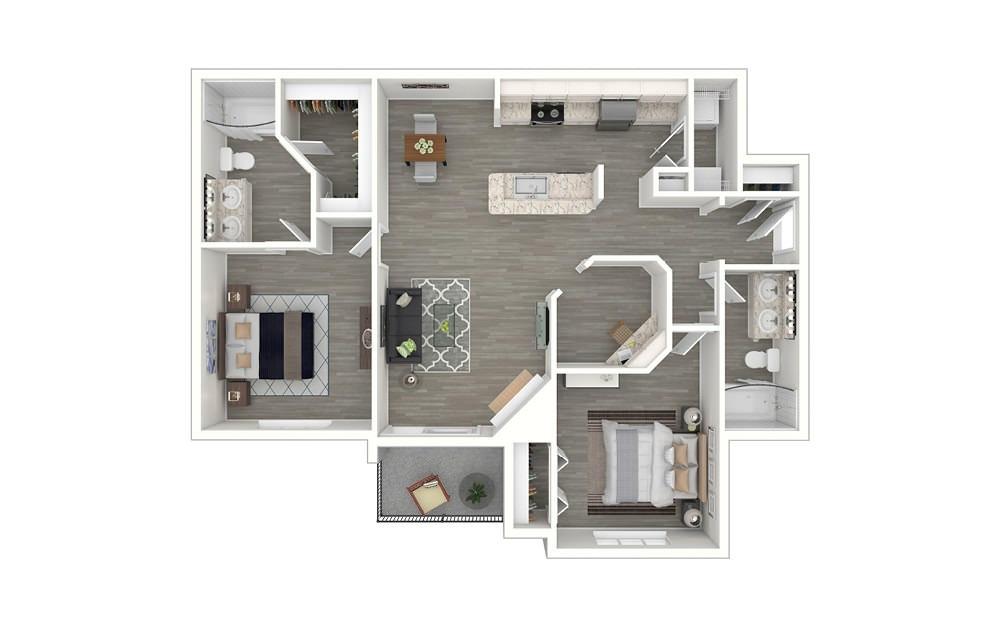 Sunset 2 bedroom 2 bath 1142 square feet