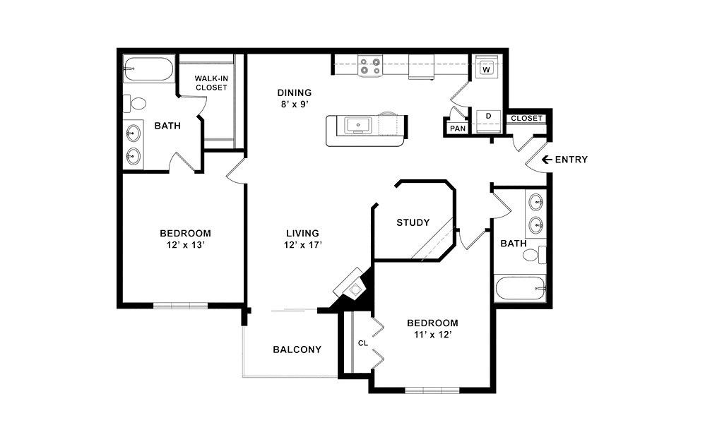 Sunset 2 bedroom 2 bath 1142 square feet (2)