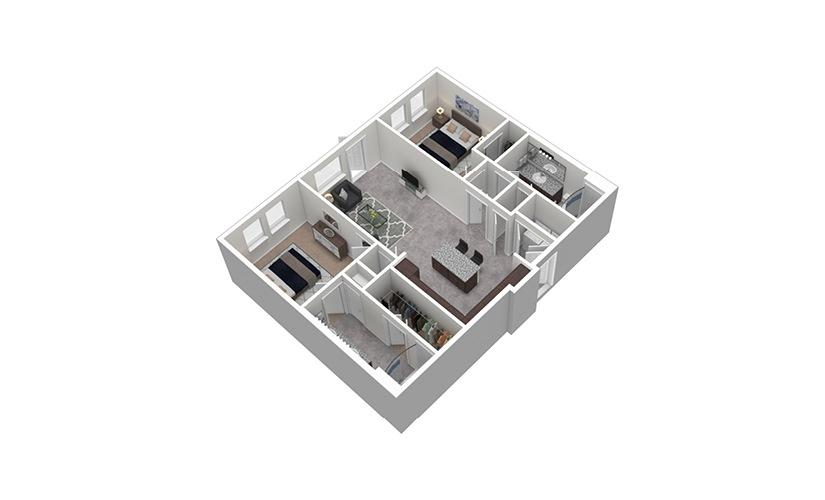 B3 2 Bed 2 Bath Floorplan