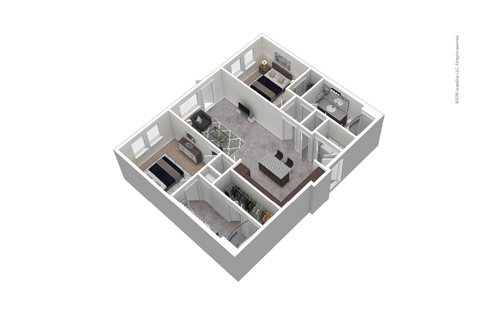 B3 2 Bed 2 Bath Furnished Floorplan