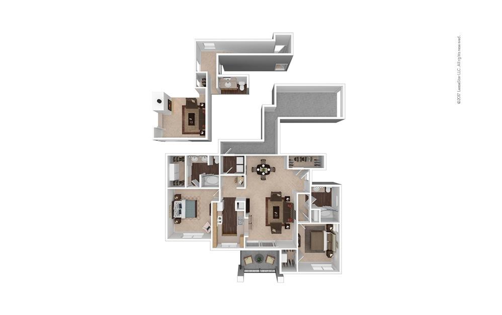 B3 2 Bed 1 Bath Furnished Floorplan