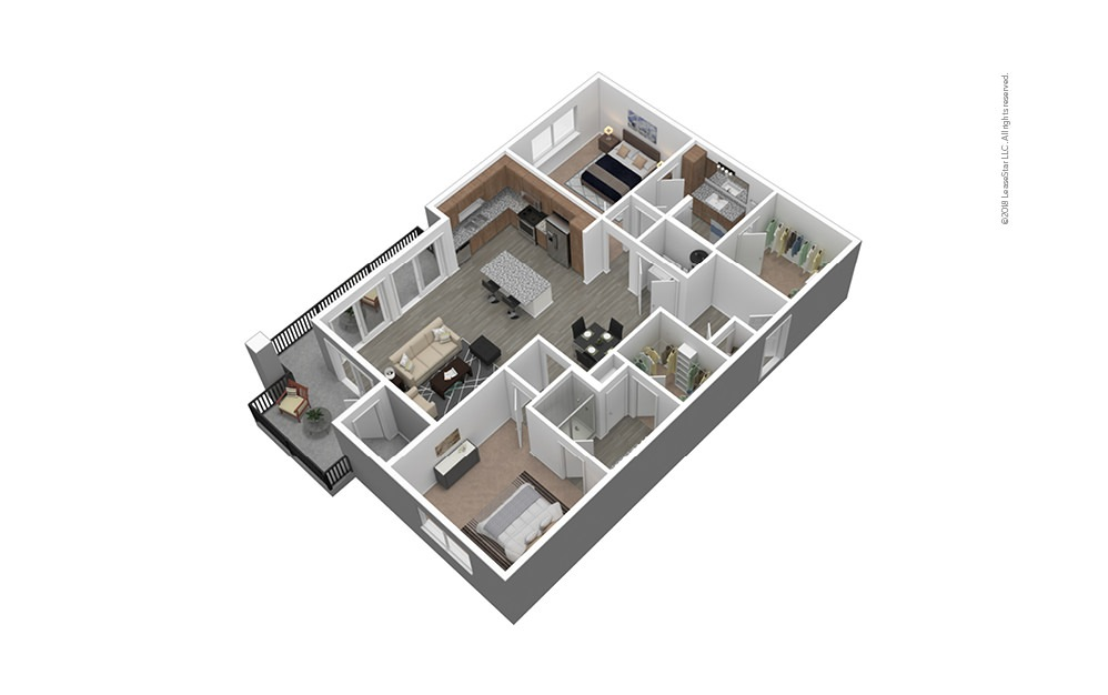 B3 Furnished 3D Floor Plan