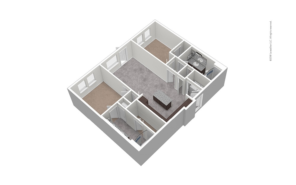 B3 2 Bed 2 Bath Unfurnished Floorplan