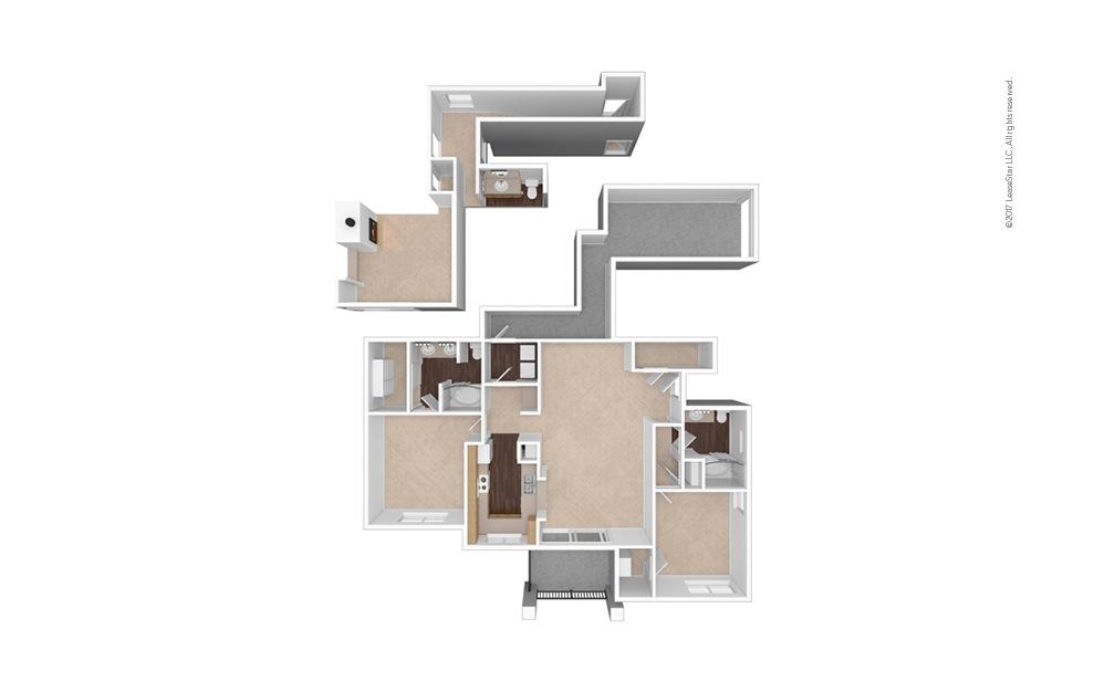 B3 2 Bed 1 Bath Unfurnished Floorplan