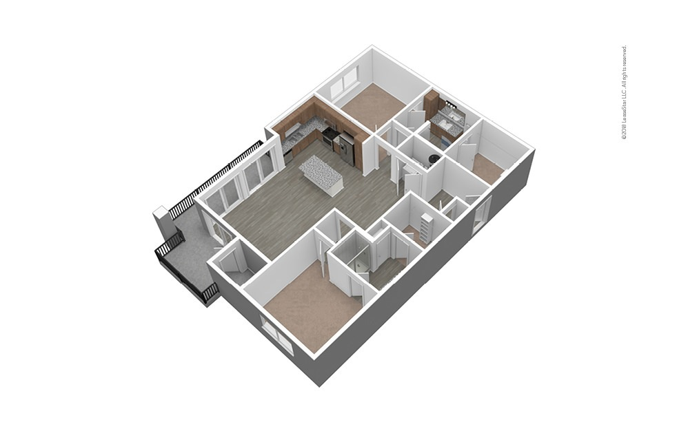 B3 Unfurnished 3D Floor Plan