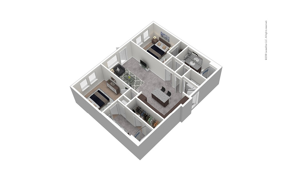 B4 2 Bed 2 Bath Furnished Floorplan