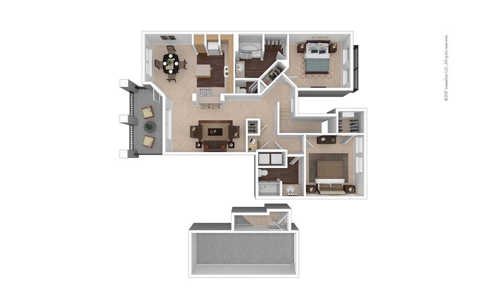 B4 2 Bed 1 Bath Furnished Floorplan