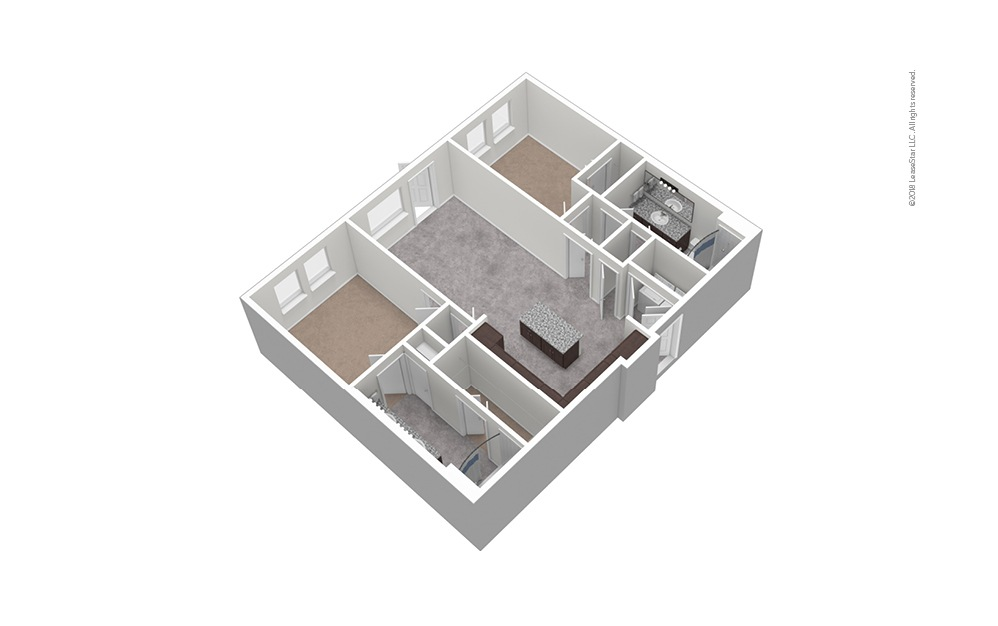 B4 2 Bed 2 Bath Unfurnished Floorplan