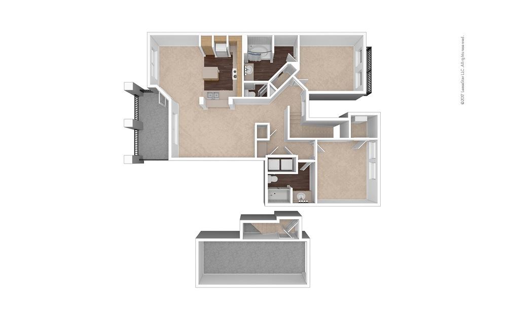 B4 2 Bed 1 Bath Unfurnished Floorplan