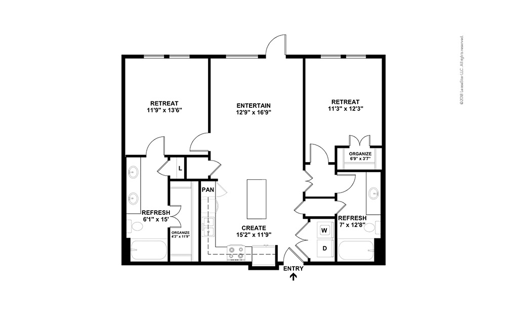 B4 2 Bed 2 Bath Floorplan