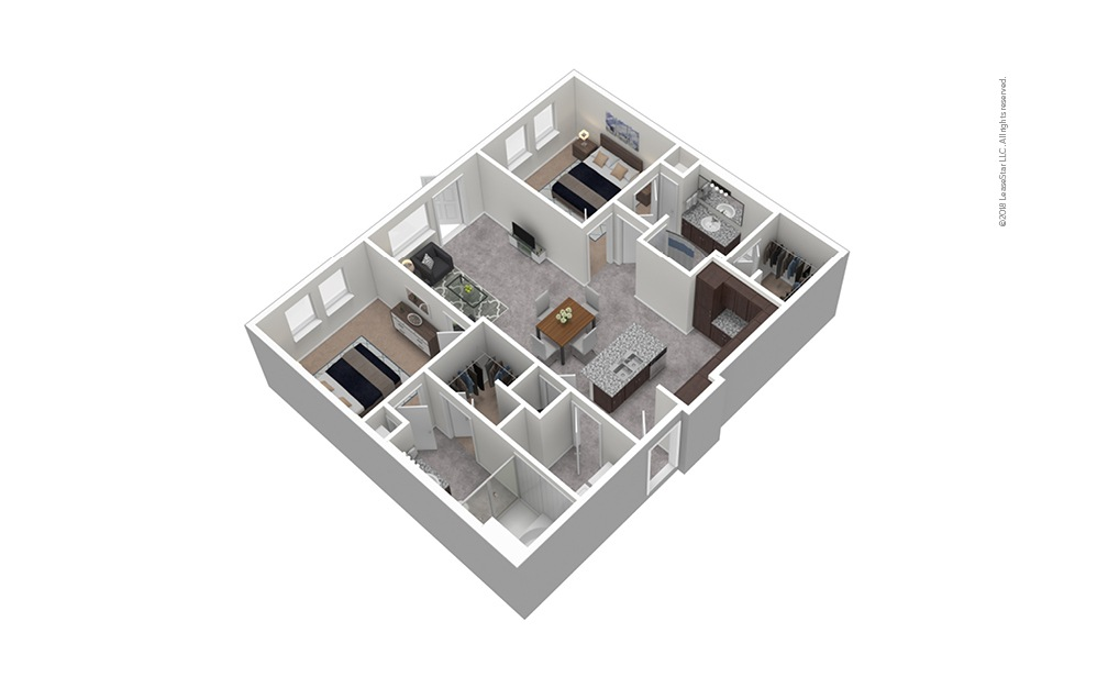 B5 2 Bed 2 Bath Furnished Floorplan