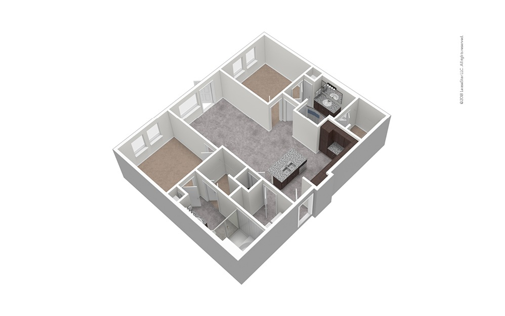 B5 2 Bed 2 Bath Unfurnished Floorplan