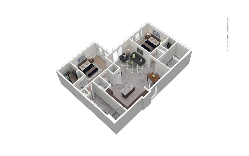 B6 2 Bed 2 Bath Furnished Floorplan
