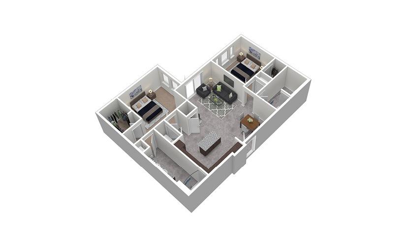 B6 2 Bed 2 Bath Floorplan