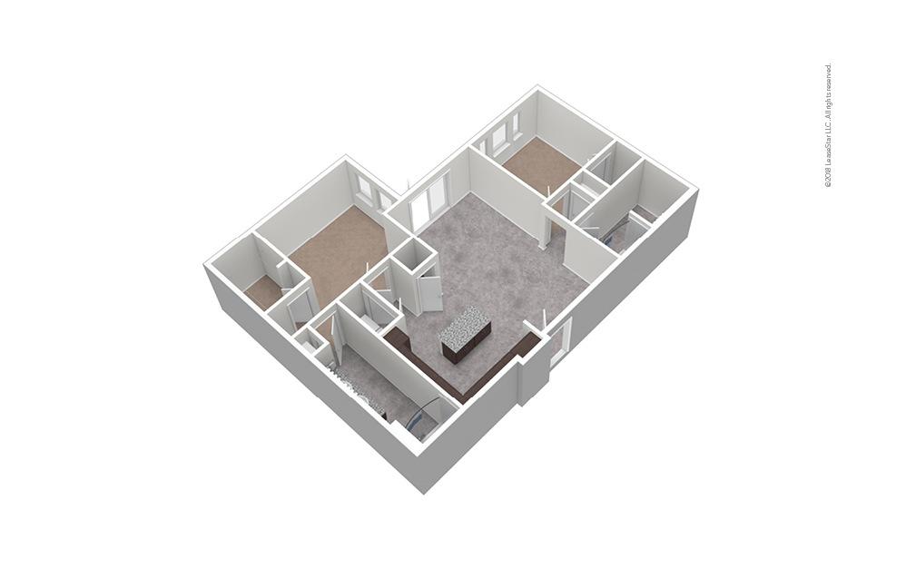 B6 2 Bed 2 Bath Unfurnished Floorplan