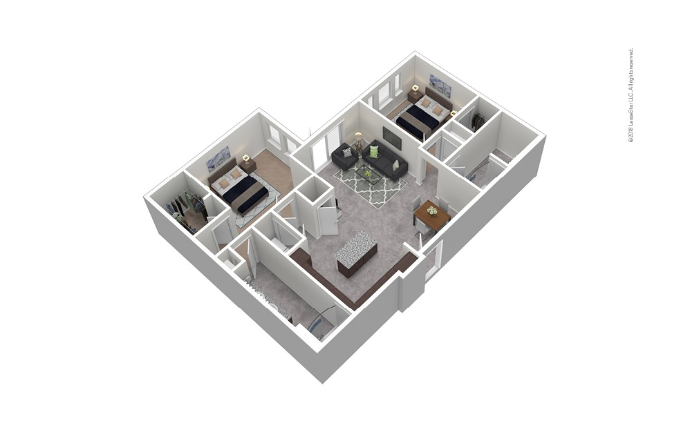 B7 2 Bed 2 Bath Furnished Floorplan