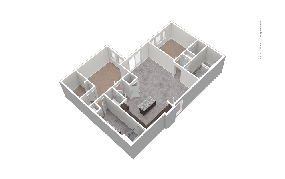 B7 2 Bed 2 Bath Unfurnished Floorplan