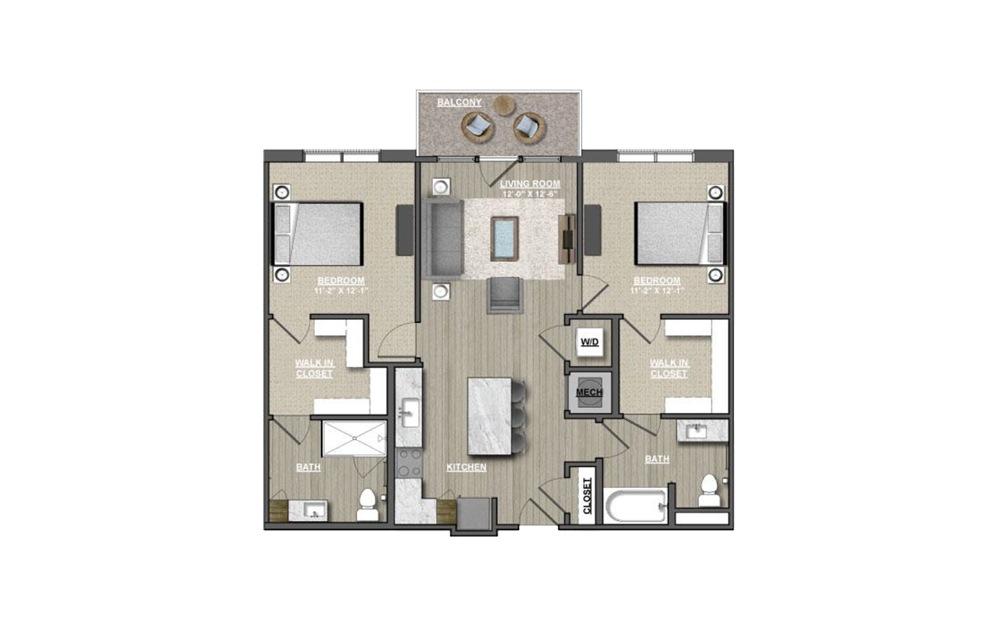 B8 - Meadowsweets 2 bedroom 2 bath 1082 square feet