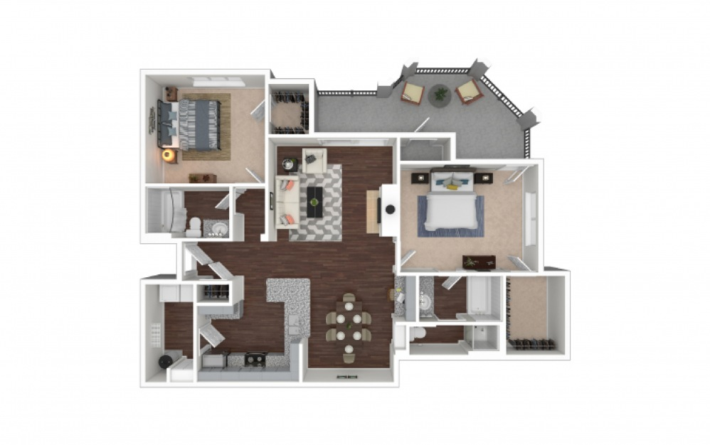 B8 2 bedroom 2 bath 1181 square feet