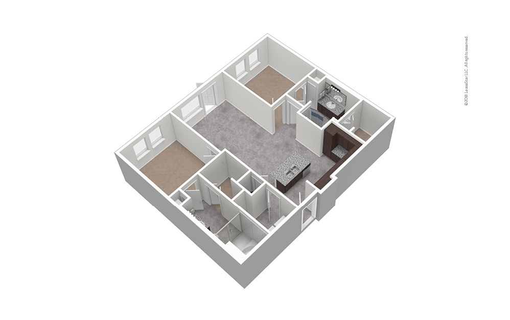 B8 2 Bed 2 Bath Unfurnished Floorplan