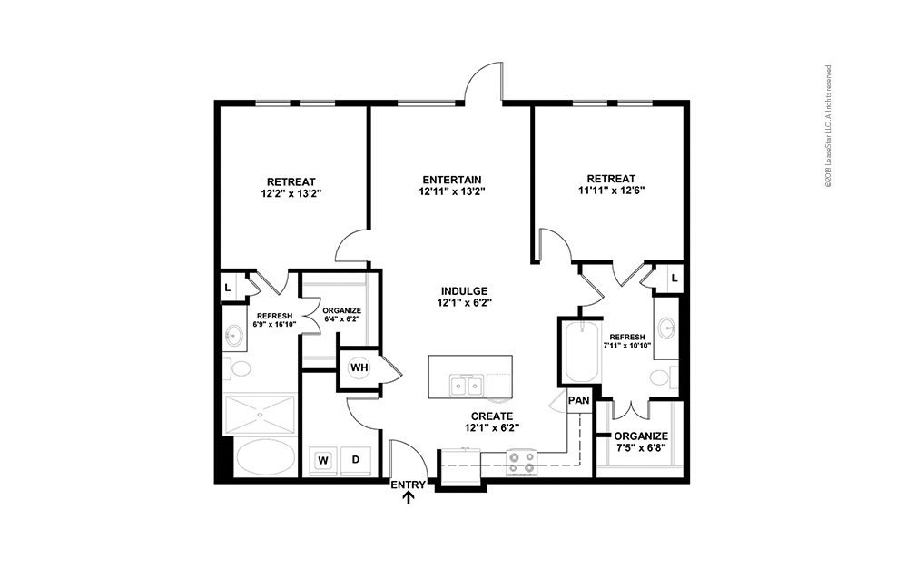 B8 2 Bed 2 Bath Floorplan