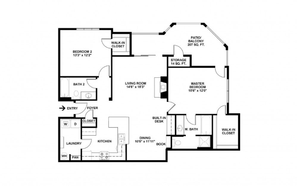B8 2 bedroom 2 bath 1181 square feet (2)
