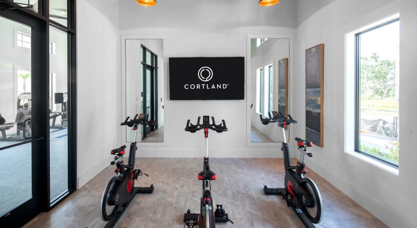 Yoga and spin room at our luxury apartments in Clearwater
