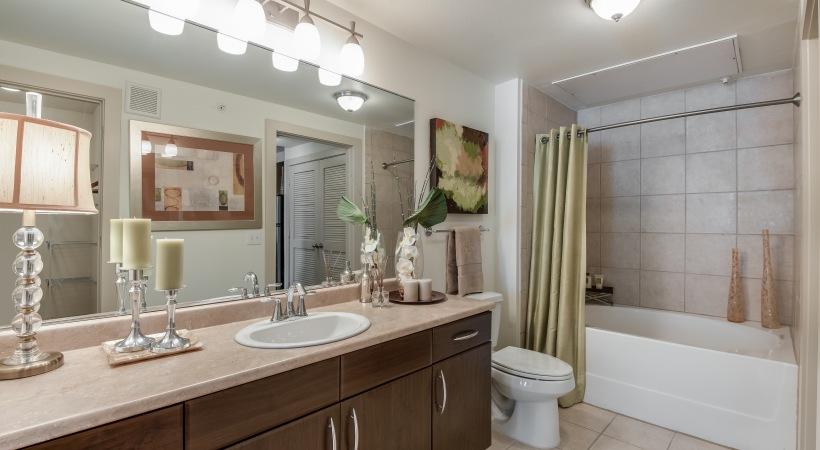 Apartment Bathroom With Deep Soaking Bathtubs