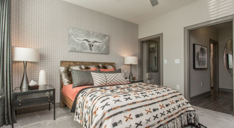 Luxury apartment bedroom at our apartments near Pearland