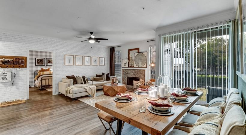 Spacious Living Room and Dining Room with Wood-Style Flooring
