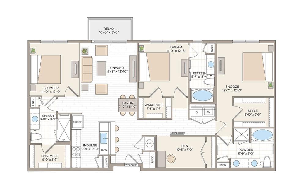 Washington 3 bedroom 3 bath 1590 square feet
