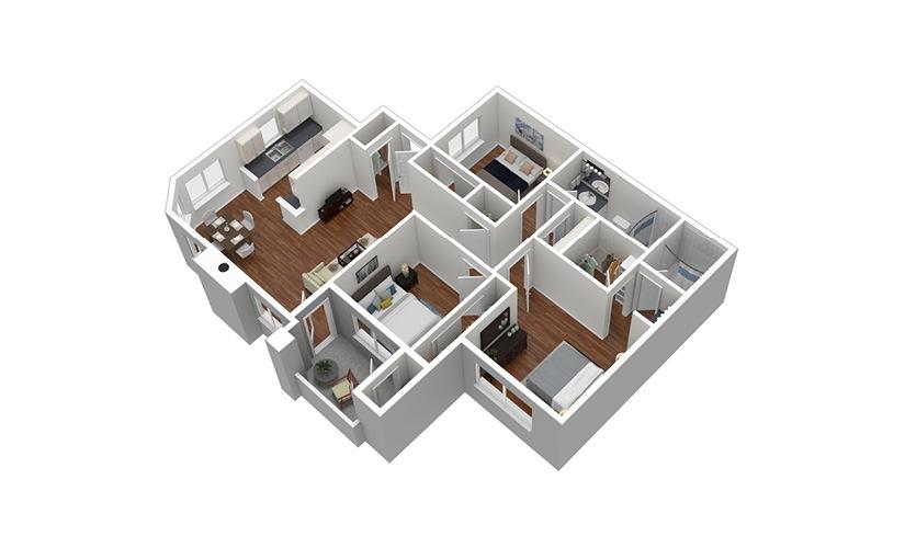 C1 3 Bed 2 Bath Furnished Floorplan