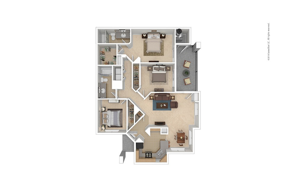 C1 3 bed 2 bath 1278 Sq. Ft.
